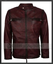 Retro Biker Fashion Mens Maroon Waxed Leather Vintage Cafe Racer Jacket