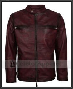 Retro Biker Fashion Mens Maroon Waxed Leather Vintage Cafe Racer Jacket