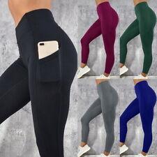 Women Fitness High Waisted Yoga Leggings w/ Pocket Sport Gym Workout Sport Pants