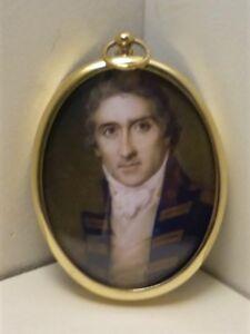 Portrait Miniature of Captain Riou, set in an oval brass frame