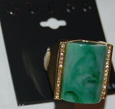 NWT Guess Gold Metal Rhinestones Large Green Marbled Stone Statement Ring, Sz 8