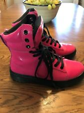 Dr Doc Martens Womens Ankle Boots Shoes Patent Leather Spin High Hot Pink Sz 6