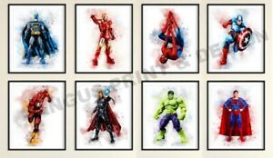 Marvel AVENGERS, SUPERHERO,TYPE, DC,, watercolour  set  A4 X 8 PRINTS