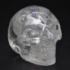 Halloween Decor Human Skull Figurine Clear Quartz Crystal Statue Stone Carving