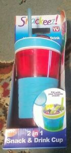 Snackeez 2 In 1 Drink And Snack Cup New In Box As Seen On Tv!! Red and blue