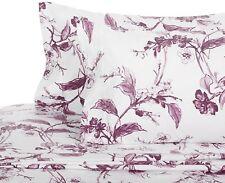 King Size Velvet Flannel Soft Sheet Set 4 Pieces Plum White Floral 100% Cotton