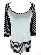 Norma Kamali Womens Dress Blouse Size M Medium Gray Striped 3/4 Sleeve Tunic