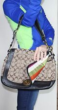 COACH Authentic $498 LEGACY Stripe ALI Signature Bag Purse Black Leather EUC!