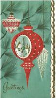 VINTAGE CHRISTMAS RED EMBOSSED ORNAMENT CRYSTAL PINE TREE GLITTER GREETING CARD