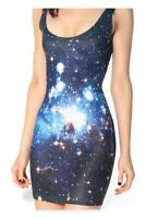 BLACKMILK Stretch Blue Galaxy Sleeveless Mini Singlet Bodycon Dress - Large