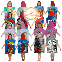 Character Hooded Bath Beach Swimming Towel Poncho Kids Boys Girls Marvel Cartoon