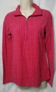 Columbia Women XS Pink Orange Print Long Sleeve Fleece 3/4 Zip Sweater Pullover