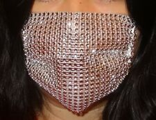 Silver Face Mask Breathable Mesh Rhinestones MADE IN THE USA Brand New