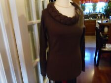 Kaleidoscope Fabulous Brown Fine Knit Plaited Scoop Neck Jumper- Small EUR 36/38