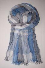 Lässiger Schal für Männer: frische Farben: Jeans Blau, Grau + Weiß, pflegeleicht