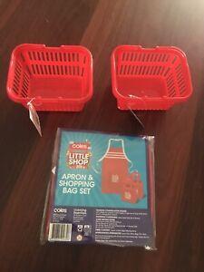 Coles Little Shop Apron & Bag Set Plus 2 Shopping Baskets NEW