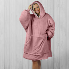 Hoodie Blanket by Snoogie Warm Double Layer 430gsm   Unisex Adult Size   Pink
