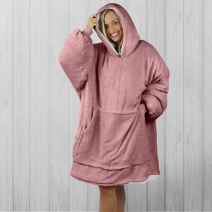 Hoodie Blanket by Snoogie Warm Double Layer 430gsm | Unisex Adult Size | Pink
