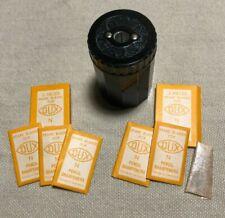 Vintage DUX 9207-N Bakelite Black Pencil Sharpener plus 6 Blades - Mint