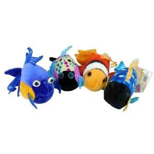 "Ganz Webkinz Lil Kinz Lot of 4 Fish Polka Clown Trigger 4"" Plush Toy Sealed Code"