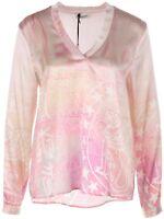 GRACE NEU Gr.M Seiden-Schlupf-Bluse Blusenshirt Pastell-Rosa-Pink-Weiß Sterne