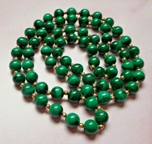 Vintage Malachite Beaded Necklace with Gold Tone Metal Accents
