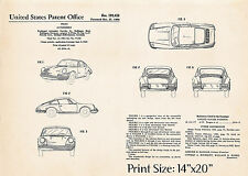 """1964 Porsche Drawing Prints Gift Ideas Us Patent Posters 14""""x20"""" -Ready To Frame"""