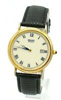 VINTAGE SEIKO 7N29-8A09 GOLD TONE MEN'S BLACK LEATHER BAND WRIST WATCH 1996