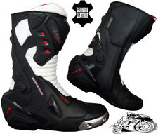 Mens Black & White Motorbike / Motorcycle CE Racing Boots Sports Leather Shoes