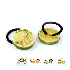 Hot 6pcs Fruits Slice Elastic Hair Tie Hair Rope Girl Ponytail Holder Head Bands