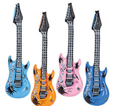 "6 Inflatable Guitars Rock Roll 24"" Party Favor Rock Star Bulk Wholesale Guitar"