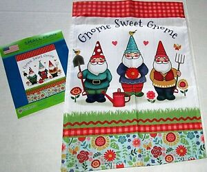 """GARDEN FLAG 12.5"""" X 18"""" By WinCraft  GNOME SWEET GNOME"""