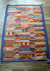 Handgewebter Teppich aus Wolle Kelim Natur Farbe Marokko 160 x 98 *TOP*