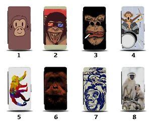 Monkeys Flip Wallet Case Monkey Face Ape Chimp Funny Kids Animal Orangutan 8048