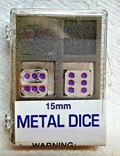 Koplow's 15mm Metal Dice - One Pair>>Zinc Alloy w/Purple Pips>>Clear Case>>SALE!