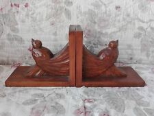 Antique Bookends Wooden Carved Birds Art Deco Signs Lyard