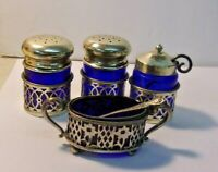 Vintage/Antique MBROS (Miller Bros) Sterling & Cobalt Blue Glass Condiment Set