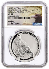 2017-P 1 oz Silver Wedge Tailed Eagle NGC MS70 First Day Issue Mercanti SKU44927
