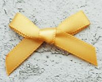 Honey Gold Small Mini Satin Ribbon Bows Ready Made 7mm Wide Arts Craft Sew