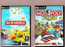 JUNIOR SCRABBLE INTERACTIVE & MONOPOLY JUNIOR. 2 EXCELLENT BOARD GAMES FOR PC!!