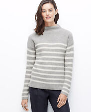 Ann Taylor XL (16) Silver Frost Striped Funnel Neck Cashmere Sweater $98.00 (6)