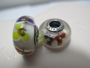 2 Pandora Silver 925 Ale Murano Bead Charm Multi Colored Flower Daisy Rose