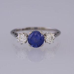 Platinum Natural Unheated Ceylon Sapphire and Diamond Three Stone Ring