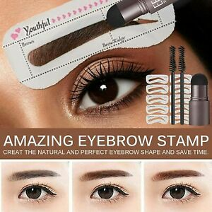 One Step Eye Brow Stamp Shaping Kit Set Eyebrow Definer Brown Black Grey Colour