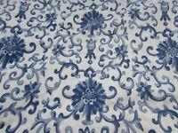 """Ralph Lauren Porcelain Rosette Blue White Cotton Fabric 70 X 77"""" 34020"""