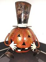 Halloween Kürbis mit Hut Metall 24x30cm groß Deko Windlicht Laterne Herbstdeko