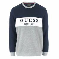Men's Guess Core Logo Fleece Crew Neck Cotton Blend Sweatshirt in Blue