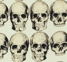 Alexander Henry Gothic Cream Rad Skulls on Ivory Cotton Fabric - FQ