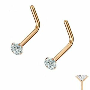 PAIR  18G 20G 2mm CZ Rose Gold Surgical Steel L Bend Nose Stud Ring Body Jewelry