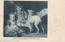 Windhund Kinder Künstler-AK 1901 Maler Ernst Stückelberg Hunde Schweiz 1601001